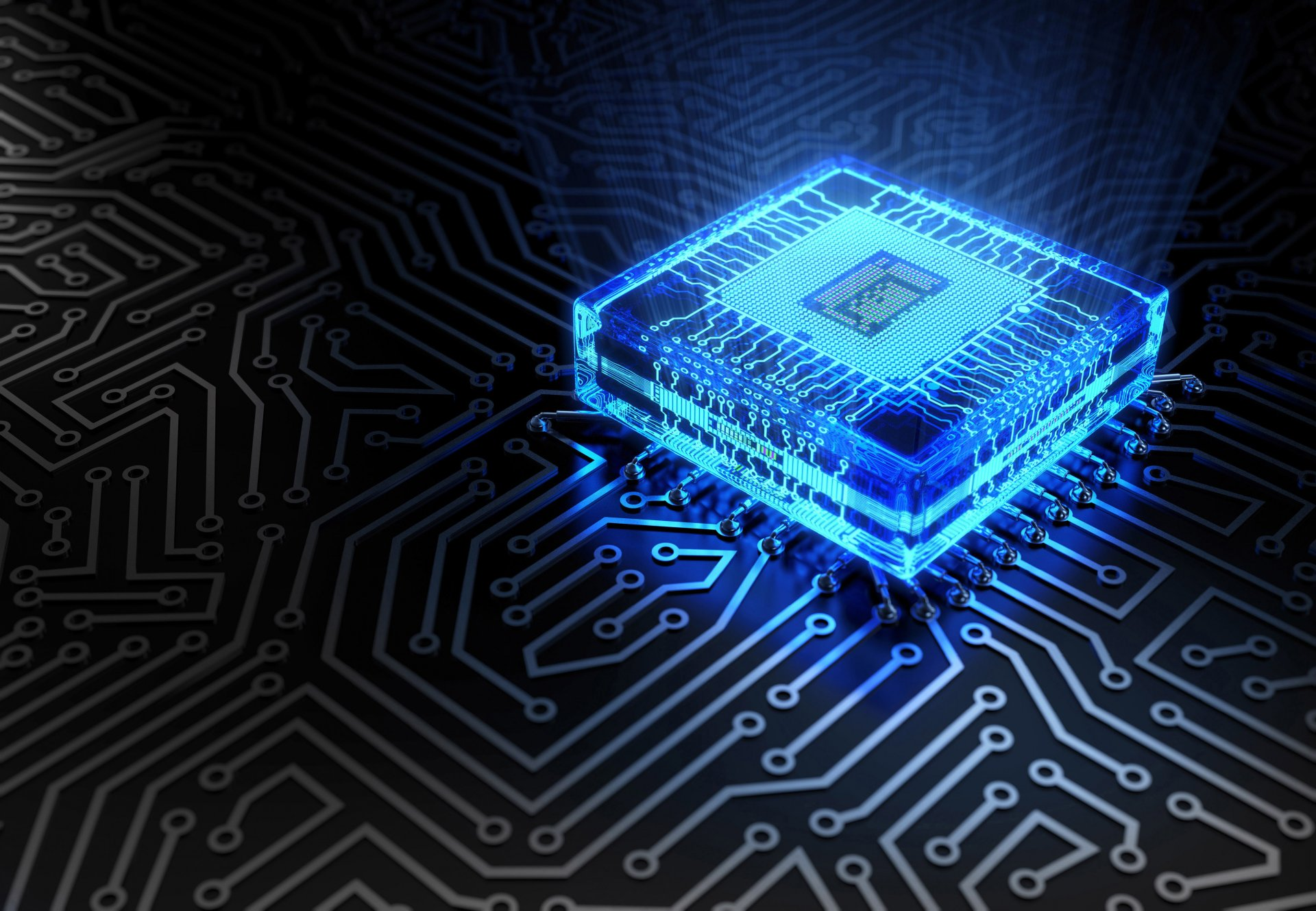 hi-tech technology chip microchip track board blue flowers glow processor cyberspace bokeh close up wallpaper.