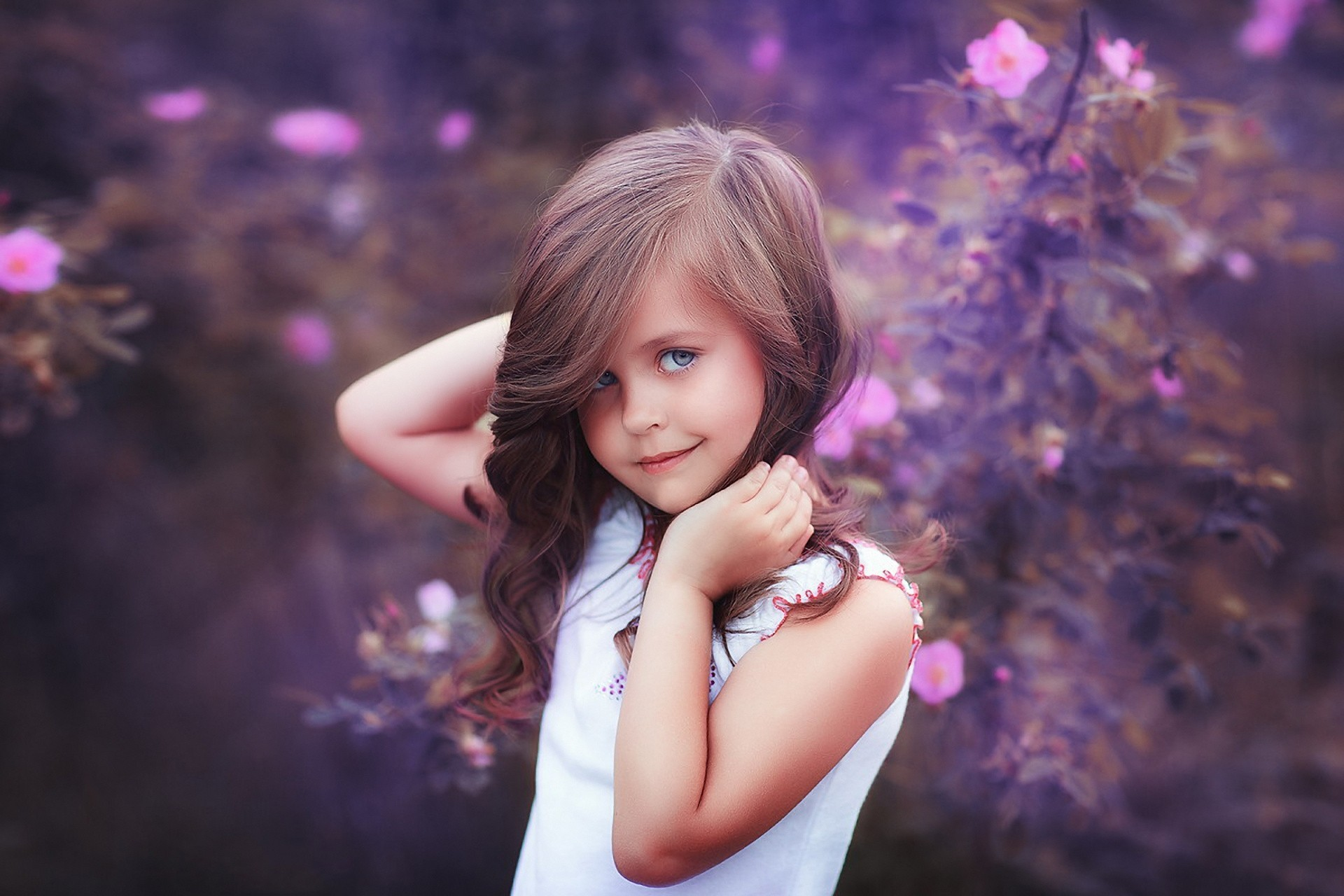 girl pose children flower views beauty child