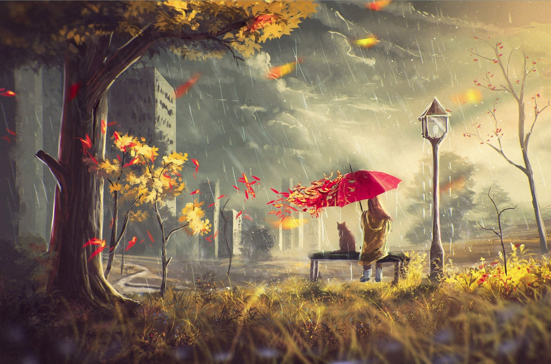 autumn street girl wind leaves umbrella cat house tree rain clouds