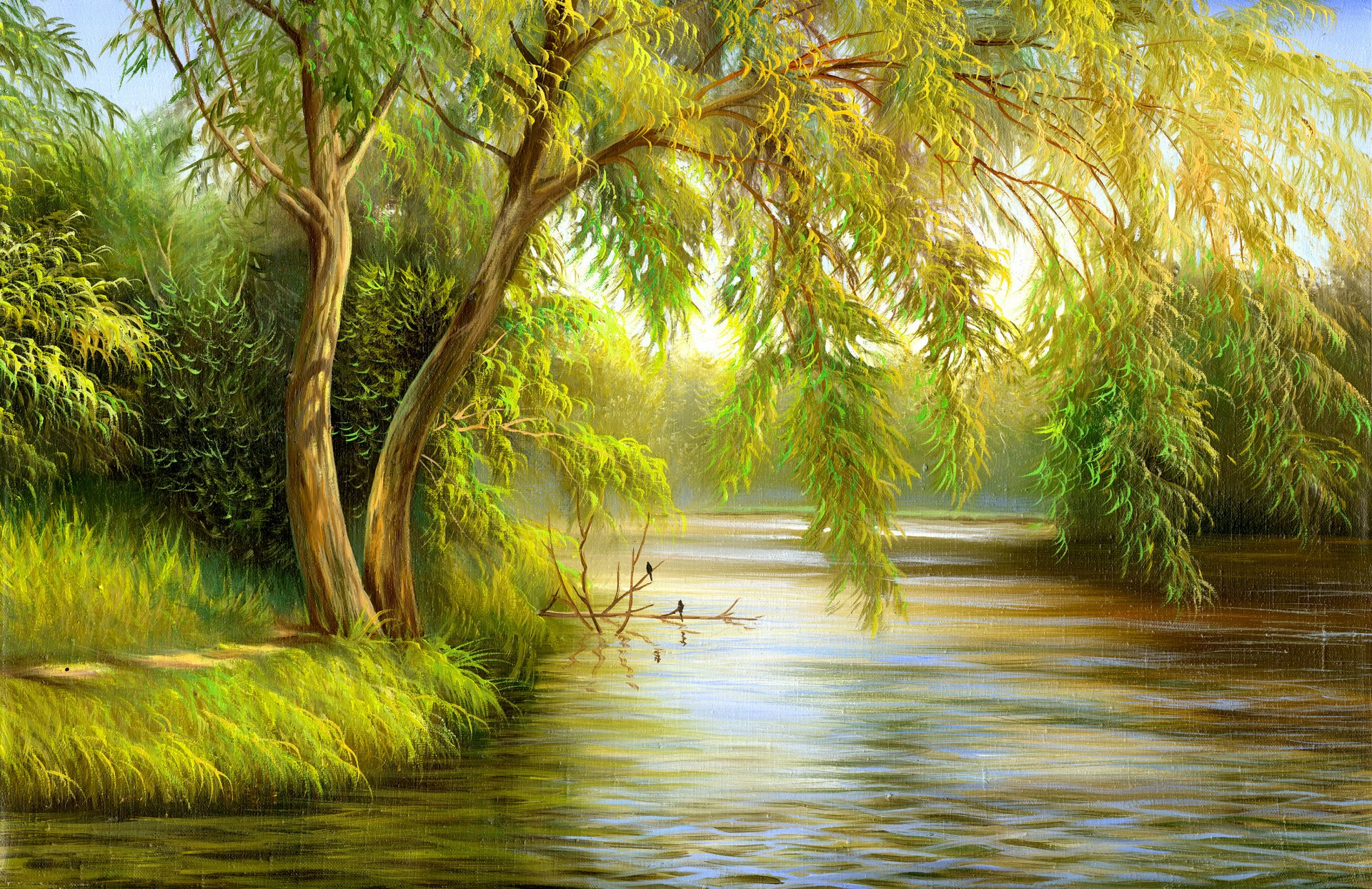 painting nature green canvas tree birds