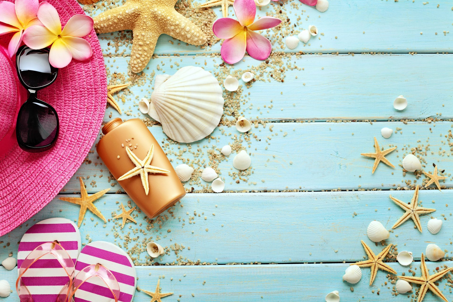 marine still life wood seashells starfish summer vacation accessories shells shale sunglasses hat flower