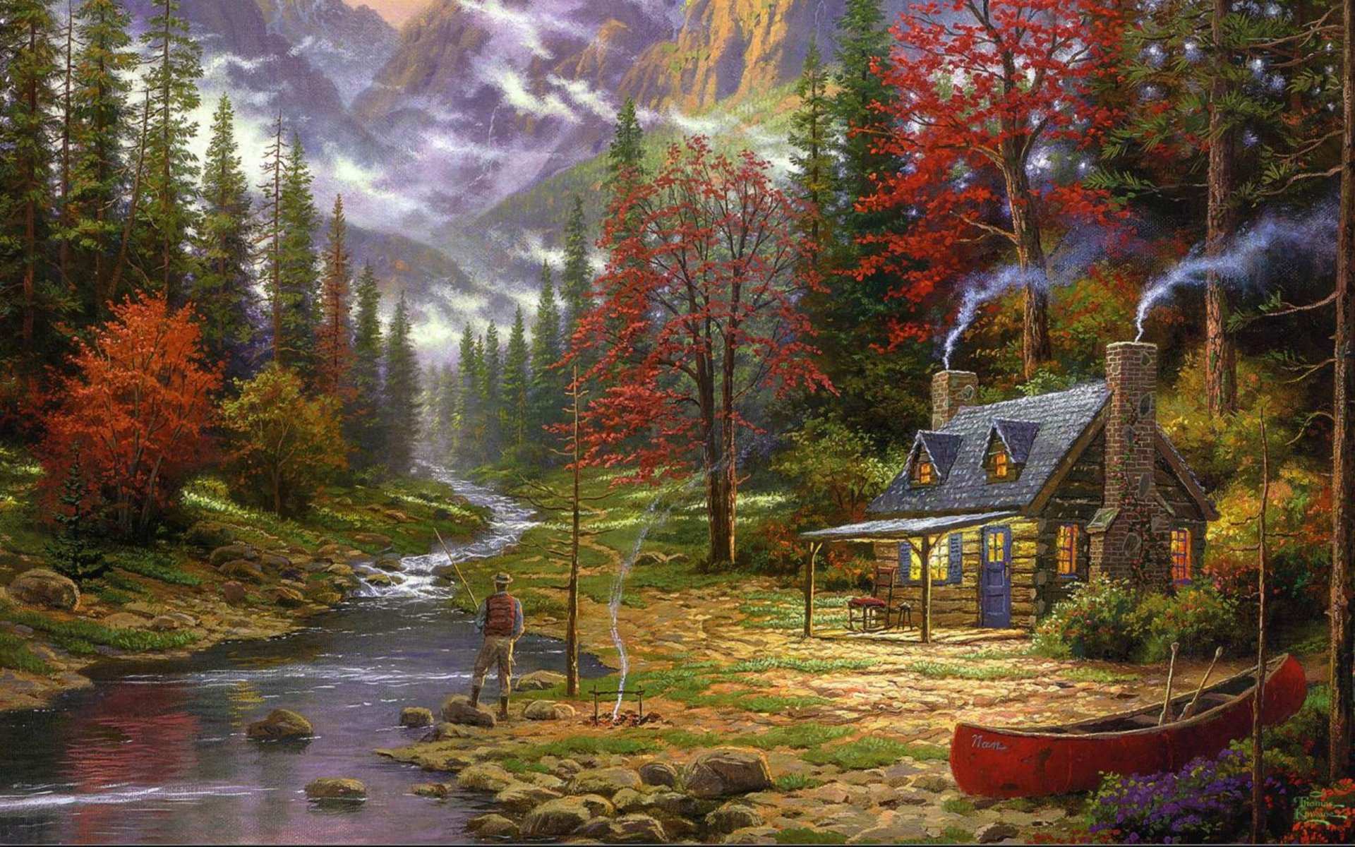 thomas kinkade the good life painting mountain river a fisherman forest spruce house chalet hut boat pattern picture pictures art