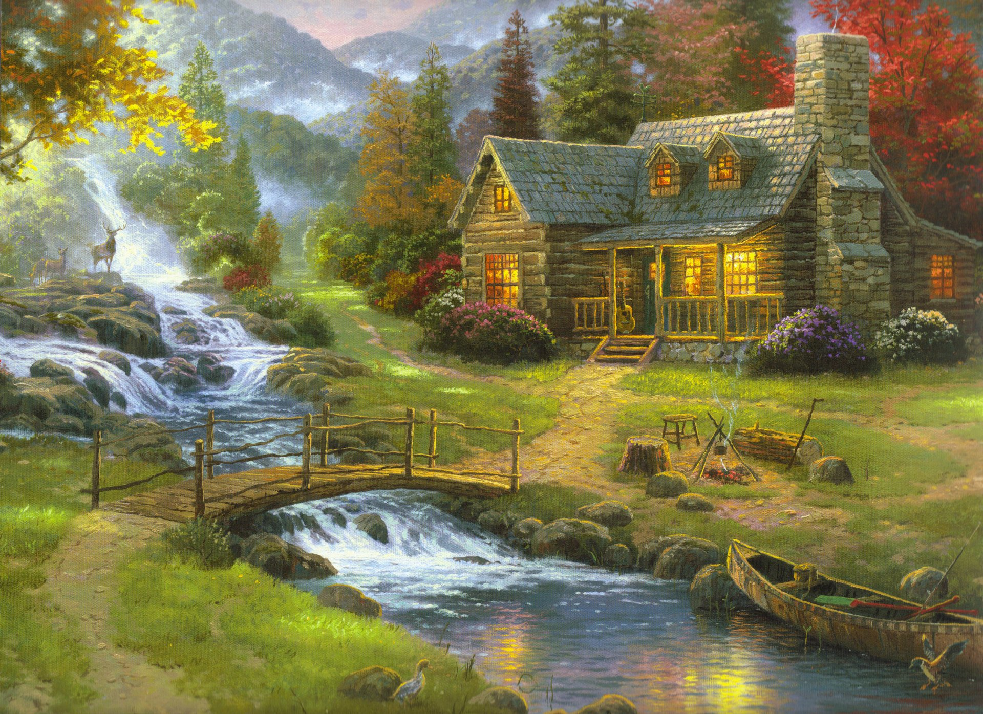 mountain paradise thomas kinkade nature painting forest house guitars mountain river wooden bridge boat fog reindeer pattern picture pictures art