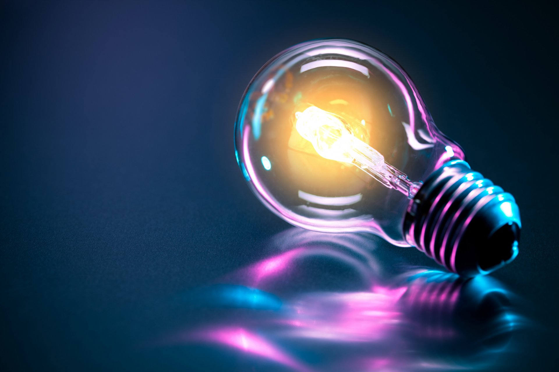 art light tungsten power glass bulb transmitter wire multicolored reflection beautiful background abstract 3d wallpaper.