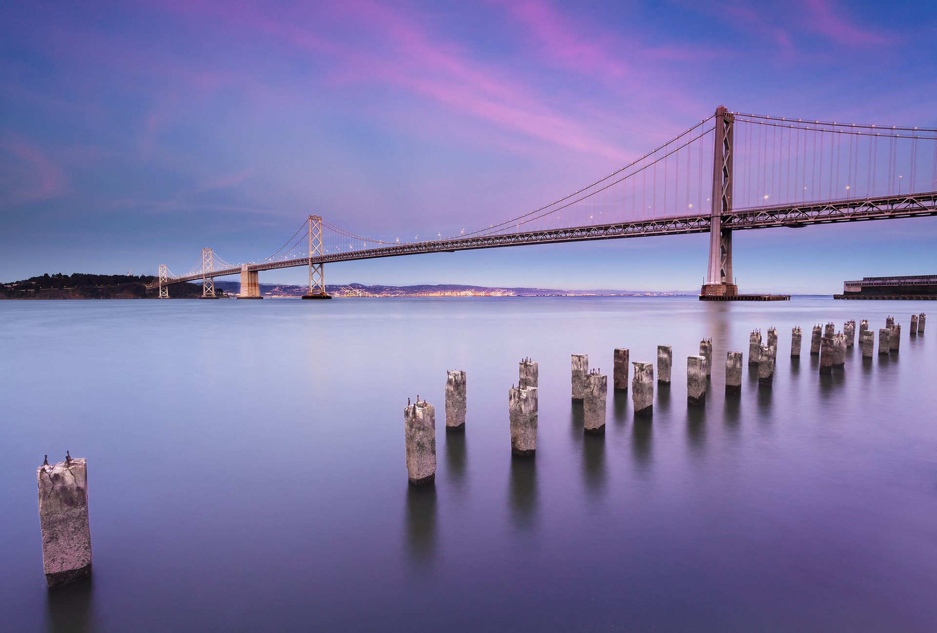 usa california san francisco city bay bridge united states town bridge lamps lighting strait beach night lilac sky clouds landscape