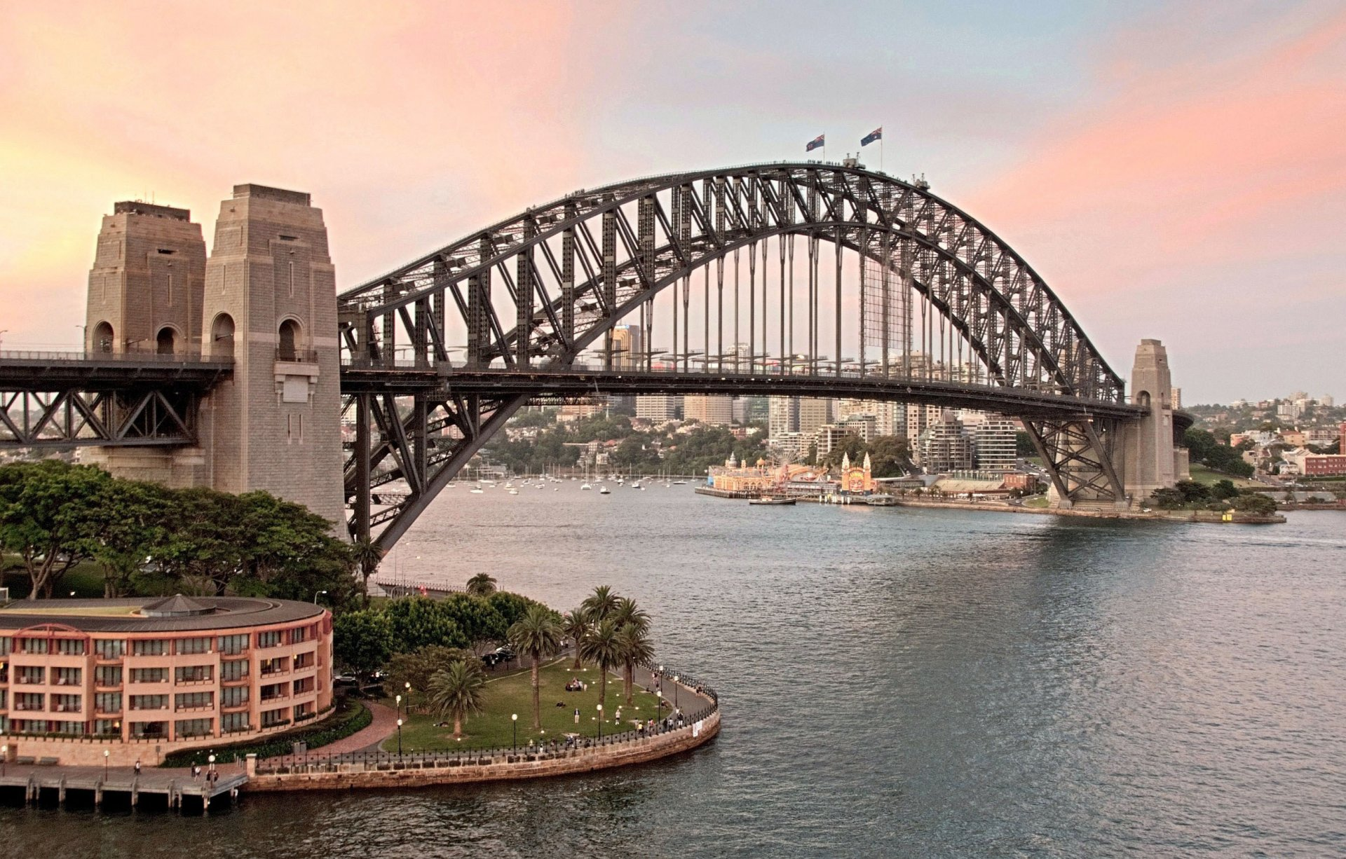 town sydney australia sydney harbour bridge harbour bridge bridge gulf port jackson sunset flags.