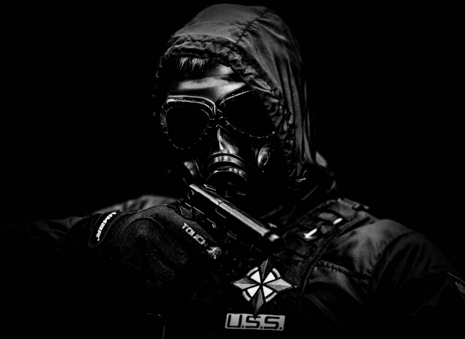 men hood mask jacket weapon gun
