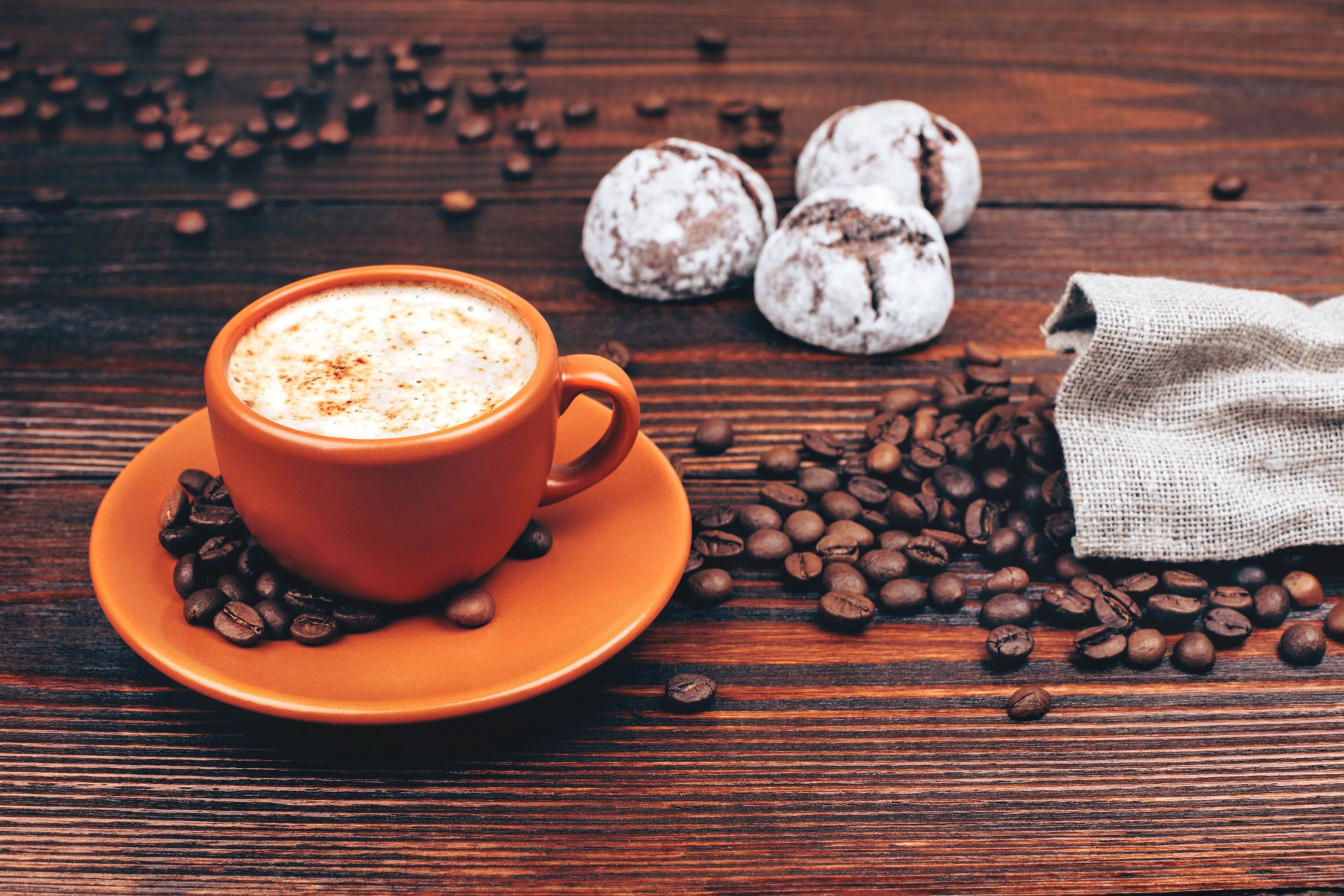 food coffee cappuccino morning table cup bag coffee shop grain candy yum-yum background blur bokeh wallpaper.