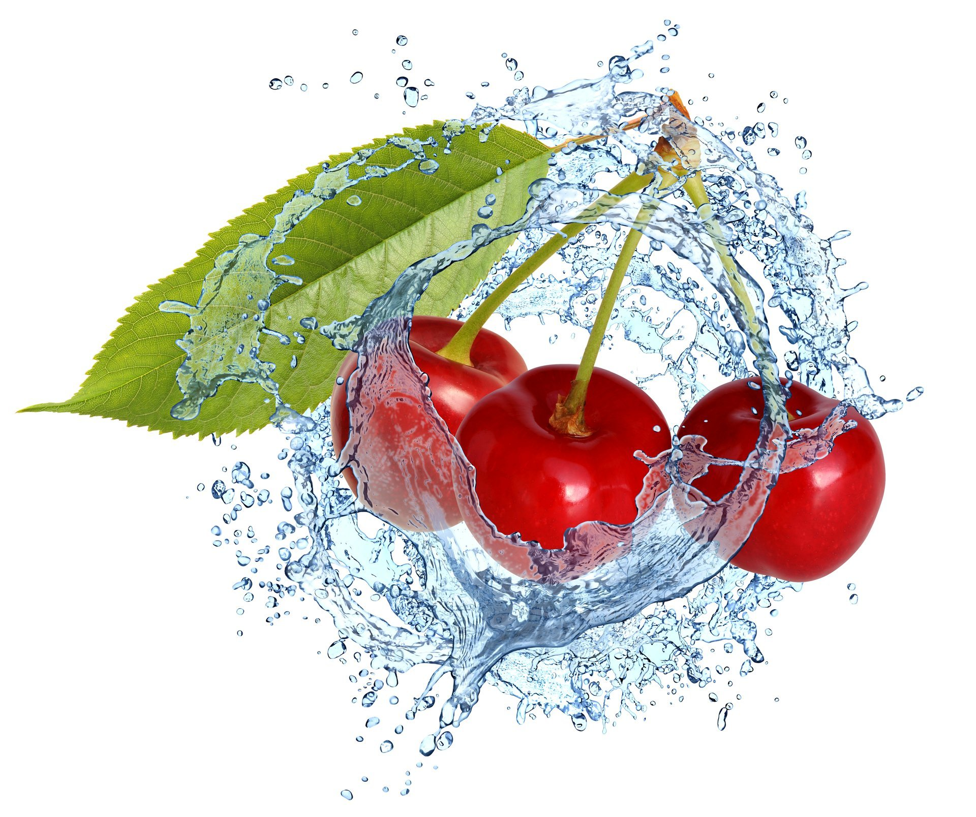 cherry splash water drops fresh berries spray